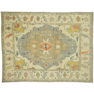 Contemporary Turkish Oushak Rug With Earth-Tones - 10'03 X 13'04 For Sale