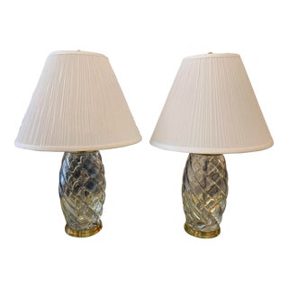 Baccarat Vintage Optical Swirl Crystal Table Lamps - a Pair For Sale