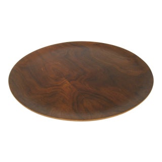 1960s Mid Century Modern Round Walnut Platter / Tray / Charger For Sale