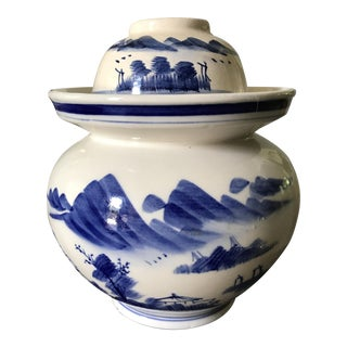 Antique Blue and White Jar With Lid and Bowl