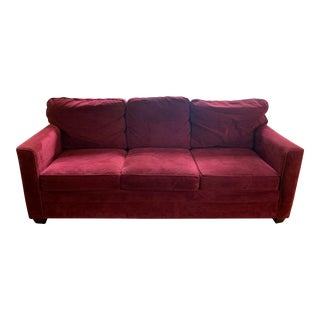 Arhaus Red Velvet Microfiber Sofa For Sale