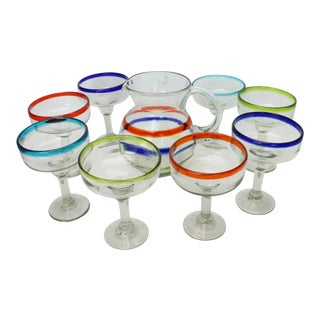 Vintage Amici Recycled Glass Margarita Glasses and Pitcher - Set of 9 For Sale