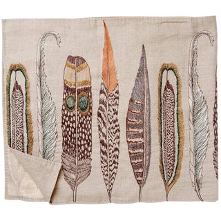 Coral & Tusk Feathers Embroidered Linen Table Runner