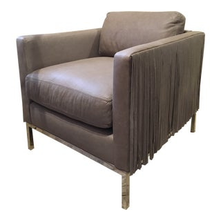 Leather and Fringe Club Chair For Sale