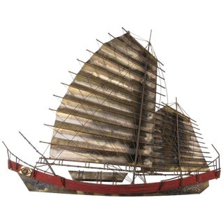 Mid-Century Wall Sculpture of Chinese Junk Boat Signed C. Jere