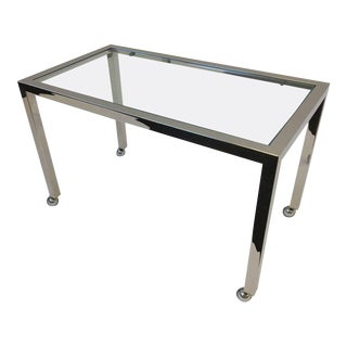 Chrome and Glass on Casters Side Table, style of Milo Baughman