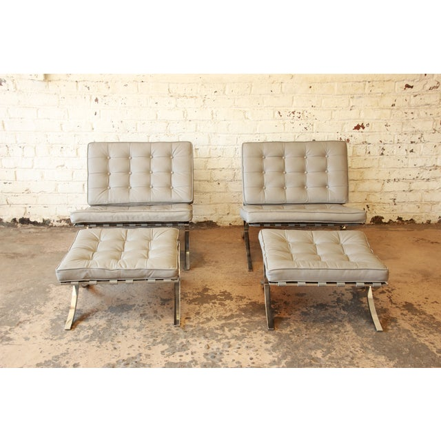 Van Der Rohe Barcelona Chairs & Ottomans -Set of 4 - Image 3 of 11