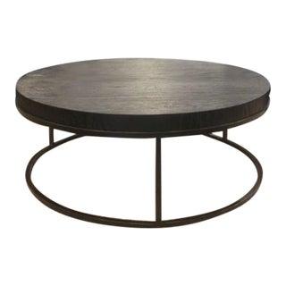 Restoration Hardware Nicholas Oak Round Coffee Table For Sale