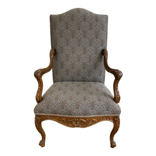 Early 20th Century French Carved Upholstered Side Chair For Sale