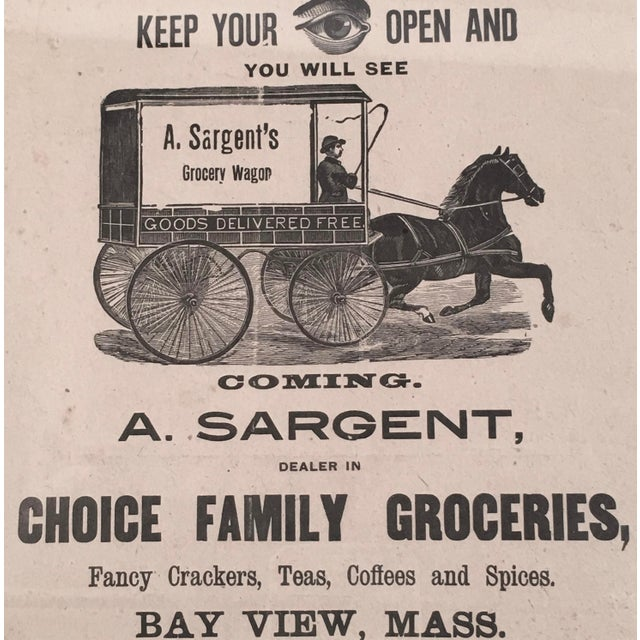 Americana 19th Century Rebus Grocery Wagon Advertisement Poster For Sale - Image 3 of 10
