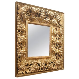 Early 19th Century Wooden Golden Gilded Mirror From Southern Italy For Sale