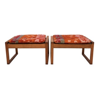 Danish Modern Benches by Borge Mogensen in Jack Lenor Larsen Velvet - a Pair For Sale
