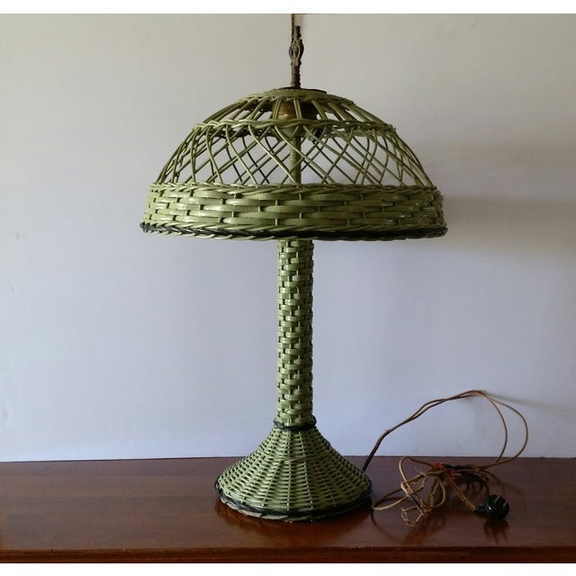 Antique Haywood Wakefield Era Wicker Table Lamp - Image 2 of 10
