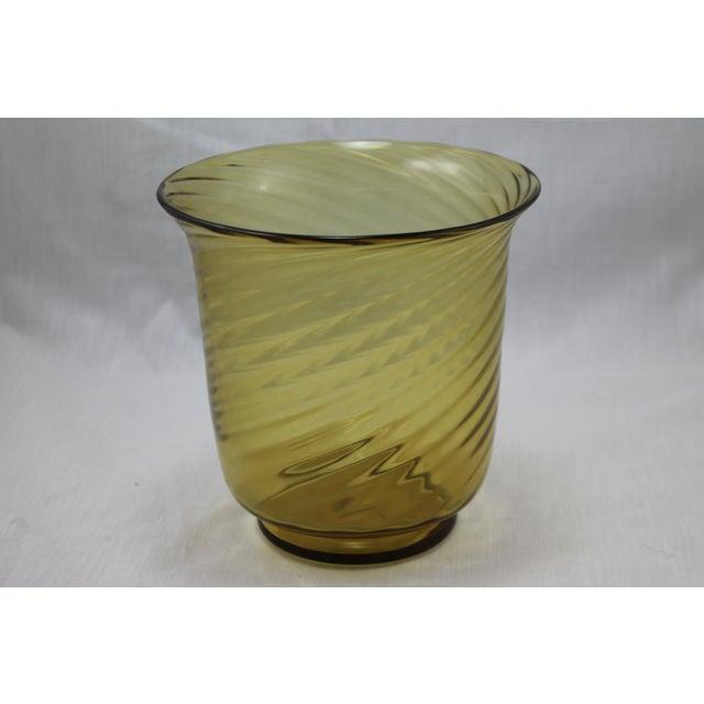 Stunning Art Deco Steuben Glassworks Amber Colored Swirl Vase For Sale - Image 9 of 9