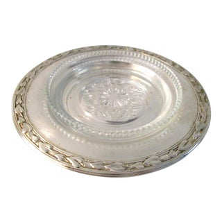 1970s Vintage Silver Wine Bottle Coaster For Sale