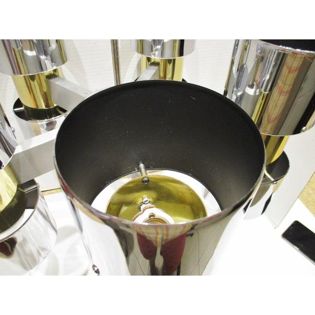 Vintage Gaetano Sciolari Chrome and Brass MCM Chandelier Circa 1950s For Sale In Miami - Image 6 of 10