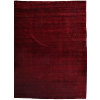 """Red Overdyed Hand Knotted Area Rug - 9'1"""" X 12'1"""" For Sale"""