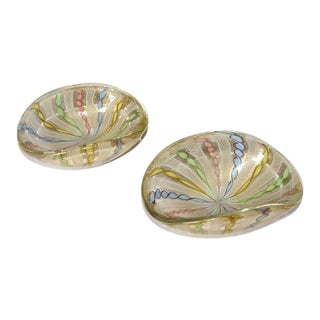 1960s Mid-Century Modern Murano Latticino Ribbon Detailed Glass Bowls - a Pair For Sale
