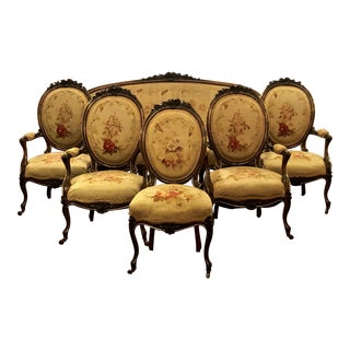 Antique French Rosewood and Aubusson 6 Piece Parlor Suite From Old Louisiana Home. For Sale