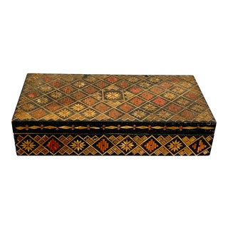 Vintage Russian Wooden Box For Sale