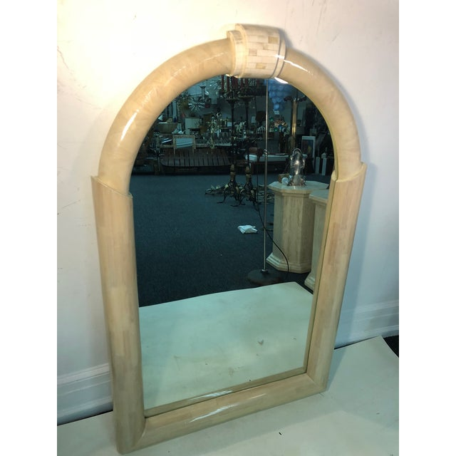 Mid-Century Modern Lacquered and Tessellated Large Scale Mirror For Sale - Image 3 of 8
