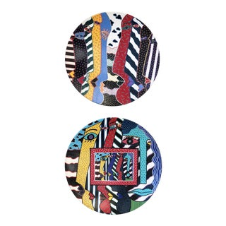 1990s Pop Art Large Wall Decorative Plates - a Pair For Sale