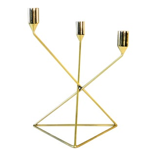 Gold Metal Three-Lite Candleholder For Sale