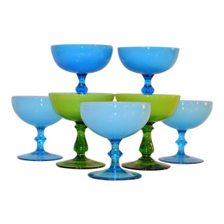 1960's Carlo Moretti Champagne Coupe Glasses - Set of 7 For Sale