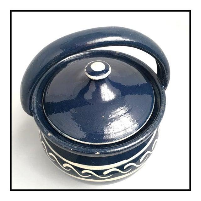 Vintage Danish Earthenware Lidded Biscuit Jar For Sale - Image 4 of 7
