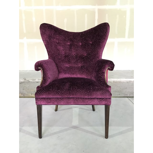Striking butterfly wing back chair restored in two Designers Guild fabrics. Multi color stripe of a wool blend with a and...