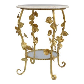 Vintage Italian Hollywood Regency Gold Gilt Iron Floral Round Marble Top Side Table For Sale