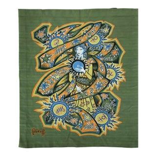 1950s Vintage Grekoff Signed Textile Tapestry For Sale
