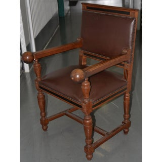 American Oak & Leather Arm Chair C.1910 Preview