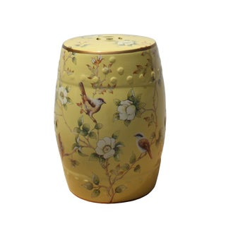 Cream Yellow Daffodil Porcelain Flower Birds Round Stool Ottoman For Sale