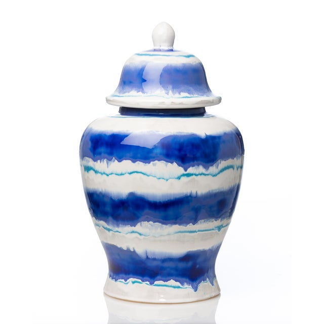Contemporary Large Watercolor Lidded Ceramic Urn For Sale - Image 3 of 3