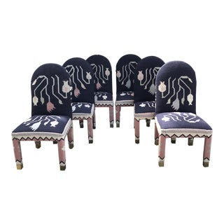 Turkish Kilim Rug Parsons Style Dining Chairs- Set of 6