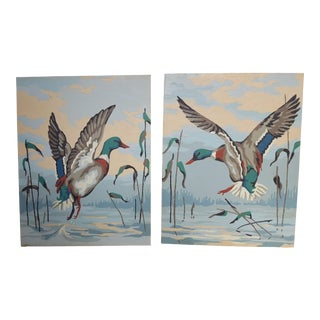1950s Vintage Mallard Duck Paint by Number Paintings- A Pair For Sale