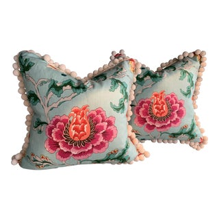 Chinoiserie Brunschwig & Fils New Athos Pillows With Samuel and Son Pom Pom Trim - a Pair For Sale