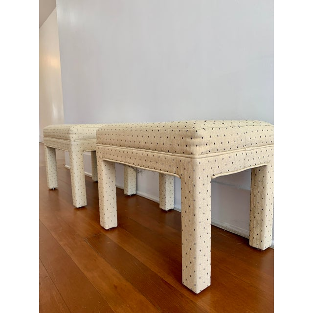 Late 20th Century Parsons Style Polka Dot Upholstered Bench - One Available For Sale - Image 5 of 10