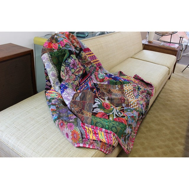 Guatemalan Textile Throw Blanket For Sale - Image 4 of 5