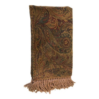 Traditional Paisley Chenille Throw For Sale