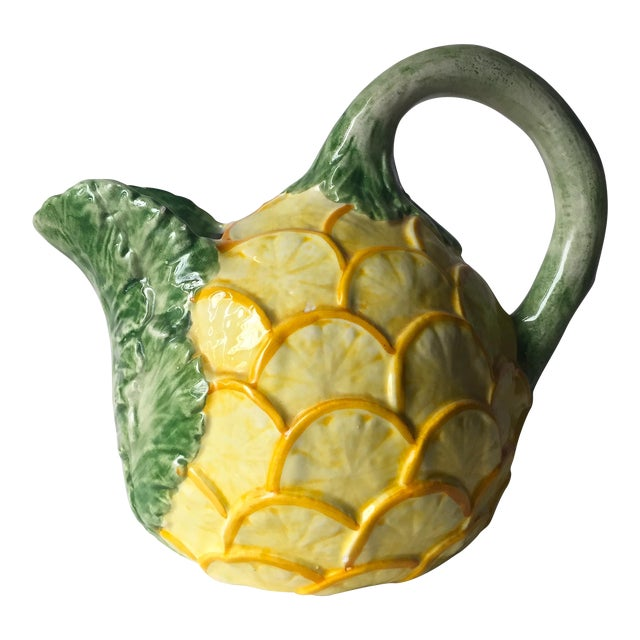 Vintage Lemon & Cabbage Leaf Pitcher For Sale