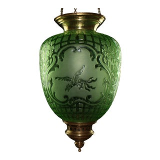 C1890 Antique Napoleon III Baccarat Documented Emerald Green Electrified Crystal Hanging Lantern For Sale