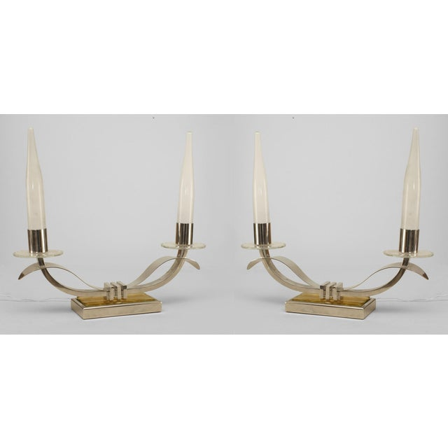 Pair Of French Art Deco Nickel Plate 2 Arm Candelabra Form Lamps For Sale In New York - Image 6 of 6