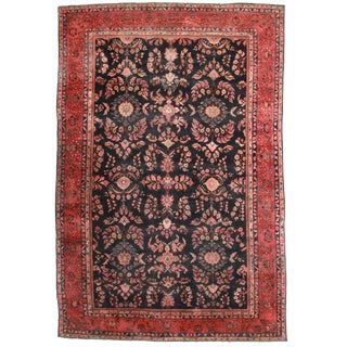 RugsinDallas Antique Hand Knotted Wool Persian Mahal Rug - 12′5″ × 18′7″ For Sale