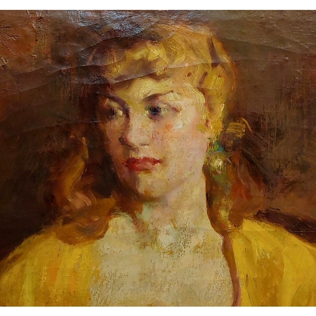 1940s William Frederick Foster -Woman Wearing White Gloves- Oil Painting- C1940s For Sale - Image 5 of 11