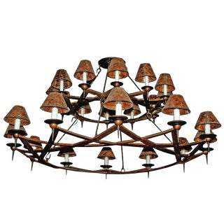 Double Dos Equis Arts and Crafts Style Wrought Iron Chandelier For Sale