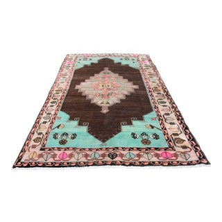 1980s Vintage Handmade Double-Knotted Turkish Rug - 9' 6'' X 5' 11'' For Sale