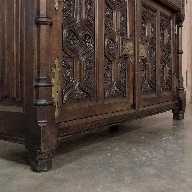 Gold 19th Century French Gothic Oak Buffet With Brass Hardware For Sale - Image 8 of 13