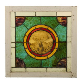 Early-century Stained Glass Window W/ Elk Circa 1905